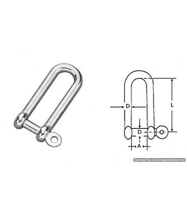 6mm Stainless Steel 316 (a4) Long D Shackle