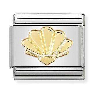 Nomination Classic Shell Steel and 18k Gold Link Charm 030111/05