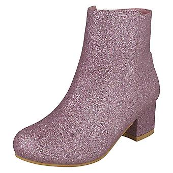 Girls Spot On Mid Heel Ankle Boots H5088