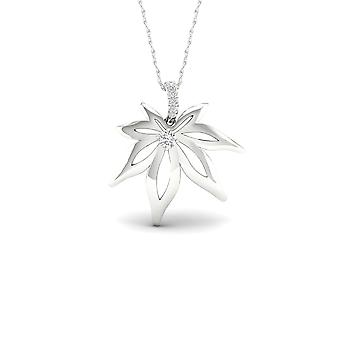 IGI Certified S925 Sterling Silver 0.1ct TDW Diamond Maple Leaf Necklace