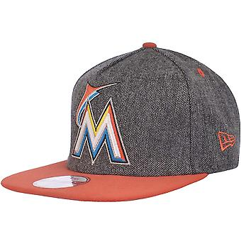 New Era Mens Miami Marlins MLB 9FIFTY Strapback Baseball Hat Cap - Grey - ML