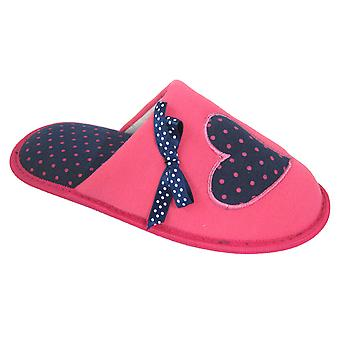 Coolers Womens Patterened Love Heart Fleece Mule Slippers