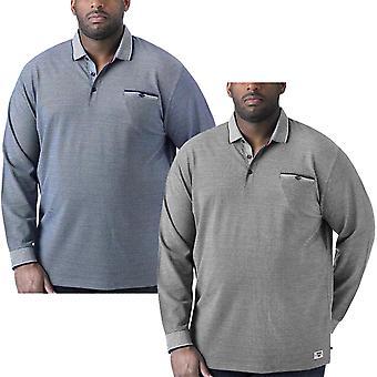 Duke D555 Mens Howard Big Tall Long Sleeve Casual Cotton Pique Polo Shirt Top
