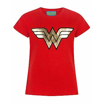 Wonder Woman Foil Logo Girl's/Kids Short Sleeve T-shirt i rött