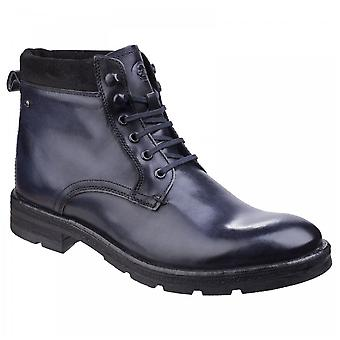 Base London Mens Panzer Washed Blue Leather Work Boots