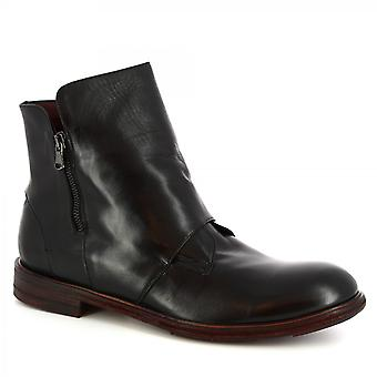 Leonardo Shoes Men's handmade ankle boots black calf leather with side zip