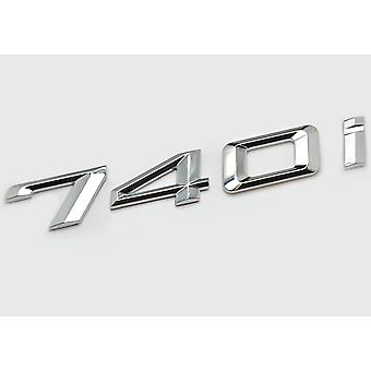Silver Chrome BMW 740i Car Model Rear Boot Number Letter Sticker Decal Badge Emblem For 7 Series E38 E65 E66E67 E68 F01 F02 F03 F04 G11 G12