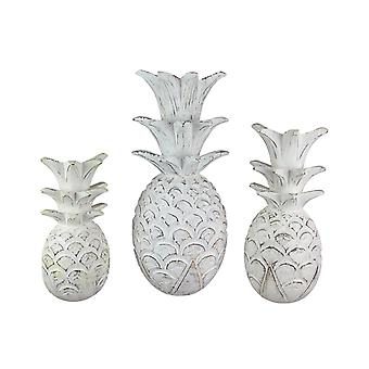 Set of 3 White Pineapple Carved Wood Sculptures Hanging Wall Plaques Home Decor