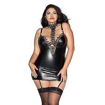 Plus Size Curvy Faux Leather Underwire Venice Lace Garter Slip