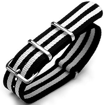 Strapcode n.a.t.o katsella hihna g10 nato james bond raskas nylon hihna kiillotettu solki - j10 kaksinkertainen musta, valkoinen