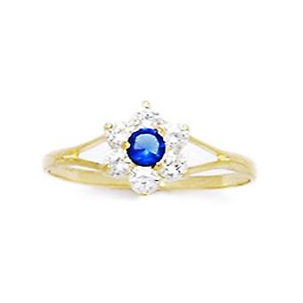 14k Yellow Gold Deep Blue CZ Cubic Zirconia Simulated Diamond Size 5.5 Flower for boys or girls Ring