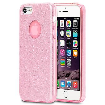 Échelle pour Apple iPhone 5/5s/SE Glitter bling Rhinestones Silicone Shiny Pink