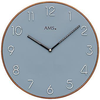 AMS 9564 wall clock kvartsi analoginen puu kirsikka väri sininen soittaa