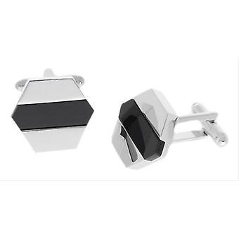 Duncan Walton Perth Onyx Semi Precious Cufflinks - Silver/Black