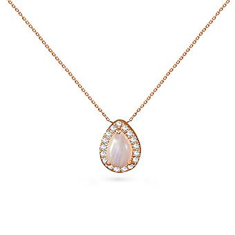 Necklace Aquae Drop 18K Gold, Diamonds and Moon Stone