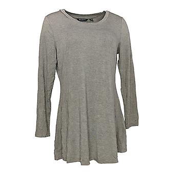 H by Halston Women's Top Scoop neck Long Sleeve Knit Gray A280700
