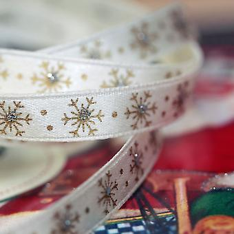 Gisela Graham Christmas Cream Satin Gold Snowflake Ribbon x 9m Craft