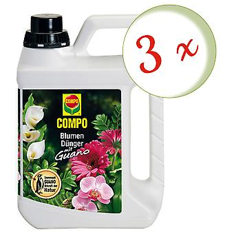 Sparset: 3 x COMPO flower fertilizer with guano, 2.5 liters