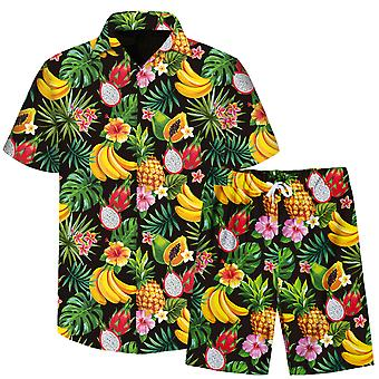 Allthemen Men's 3D Fruit Pattern 2-Pcs Beach Camisa&Shorts