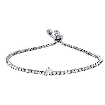 925 Sterling Silver Womens Love Heart CZ Cubic Zirconia Simulated Diamond Tennis Fashion Bracelet Jewelry Gifts for Wome