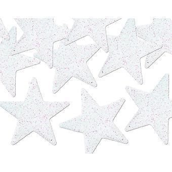 8 Decorações de estrelas de plástico brilhante iridescente para enfeites artesanais
