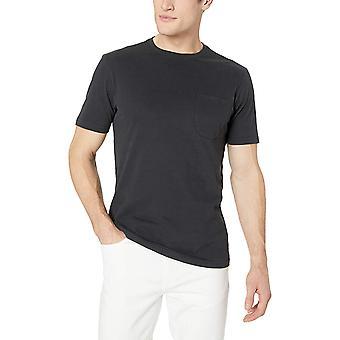 Goodthreads Men's Short-Sleeve Sueded Jersey Crewneck Pocket T-Shirt, Black, X-Small