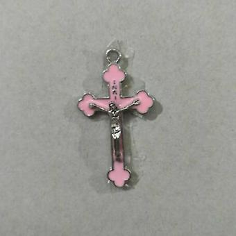 الوردي اللون إسقاط النفط سبيكة دينية الصليب الكنيسة الصليب المقدسة رود اجيسوس قلادة قلادة قلادة
