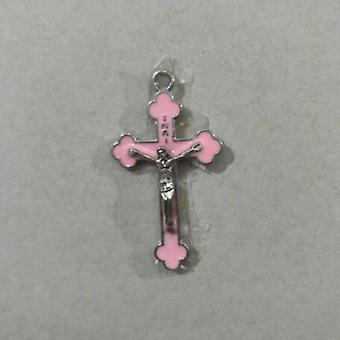 Pink Color Drop Oil Alloy Religious Cross Church Crucifix Sacrament Holy Rood Jesus Pendant Necklace