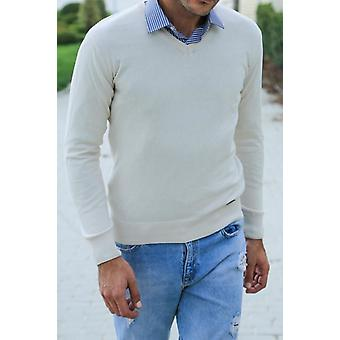 V neck cream sweater