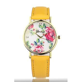 Yellow Women's Watch from Geneva flower swarovski crystal leather