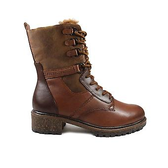 Tamaris 26212 Brown Leather Womens Lace/Zip Warm Ankle Boots