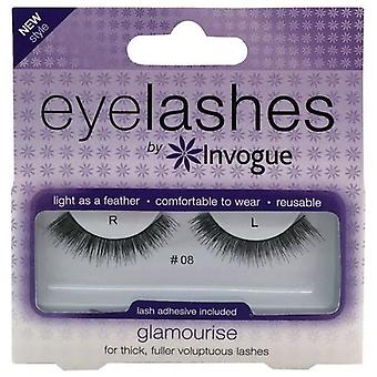 Invogue Glamourise False Synthetic Eyelashes - #8 - Reusable and Easy to Apply