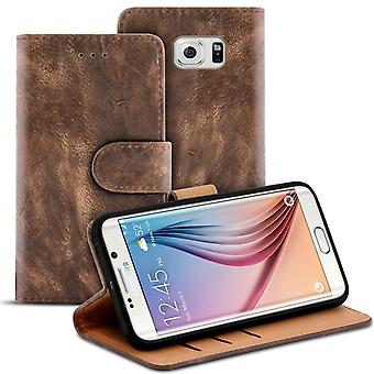 Vintage Sleeves with Card Slot for Samsung Galaxy S6 Edge TPU Wallet Magnetic Lock Brown