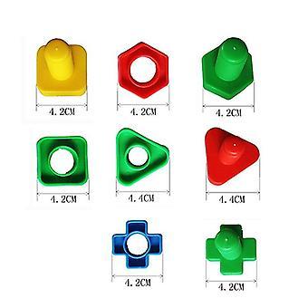 4 مجموعات / الكثير برغي كتل البناء -- البلاستيك إدراج كتل ، لعبة شكل الجوز