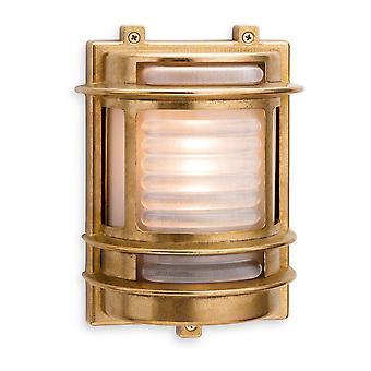 1 Light Outdoor Wall Light Brass, Glass Frosted IP64, E27