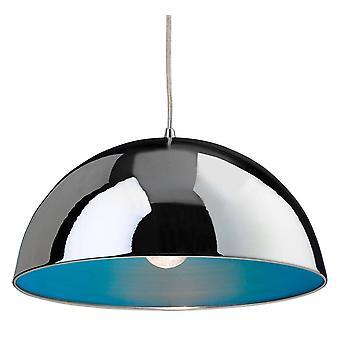 1 Light Dome Soffitto Ciondolo Cromo, Blu Interno, E27