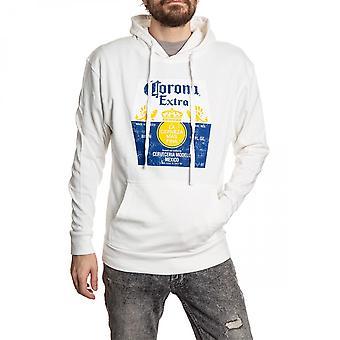 Corona Extra Washed Label White Hooded Sweatshirt