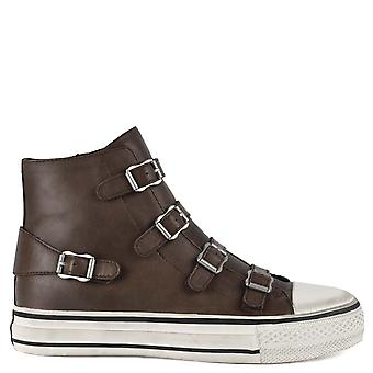 Ash VIRGIN Buckle Trainers Brown Leather