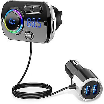 Wireless FM transmitter for the car, Bluetooth 5.0 - Black