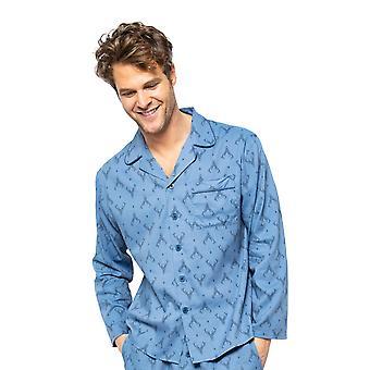 Cyberjammies Arthur 6527 Men's Blue Mix Stag Print Pyjama Toppi