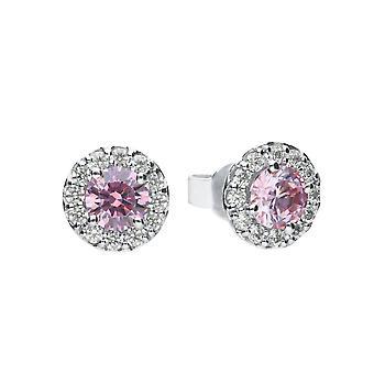 Diamonfire Dusky Pink Cubic Zirconia Pave Studs Boucles d'oreilles E5775