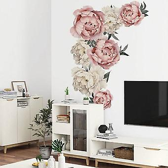 Large Pink Peony Flower Wall Stickers - Home Decor For Bedroom, Living Room