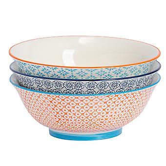 Nicola Spring 3 Piece Hand-Printed Salad Bowl Set - Japanese Style Porcelain Fruit Pasta Serving Bowls - 3 Colours - 21.5cm