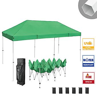 Instahibit 10x20 ft Pop Up Canopy Tent CPAI-84 Commercial Outdoor Trade Fair Canopy Shade Party Tent 1680D Roller Bag