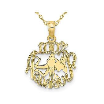 10K Yellow Gold 100% AQUARIUS Charm Astrology Zodiac Pendant Necklace with Chain