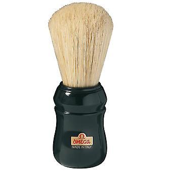 Omega Pig Hair Black Handle Scheerborstel Groot