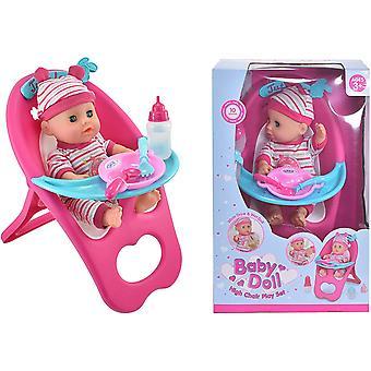 Baby Doll Vysoká stolička Play Set s Dolls Príslušenstvo