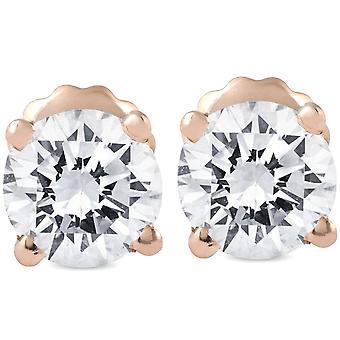 1 Ct TDW Diamond 14k Rose Gold Studs IGI Gecertificeerd