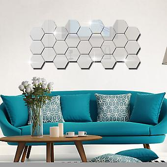 3d Géométrique Hexagon Mirror Wall Sticker