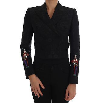 Dolce & Gabbana Black Brocade Bleiseri Takki